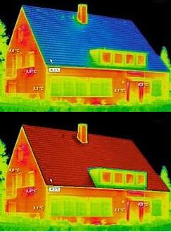 Thermal Roof Coating Heat Loss Before and After